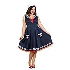 Plus size adorable retro-styled dress with sailor collar, sequin anchors and a full circle skirt. Sailor hat included.