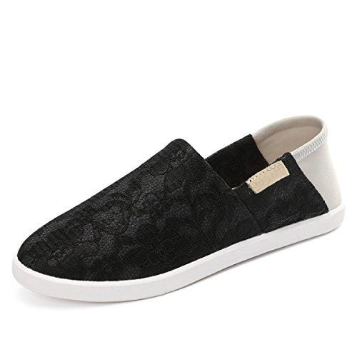 Zapatos Casuales De Tela Metálica Sra Chun Xia Qiulei CHT Black