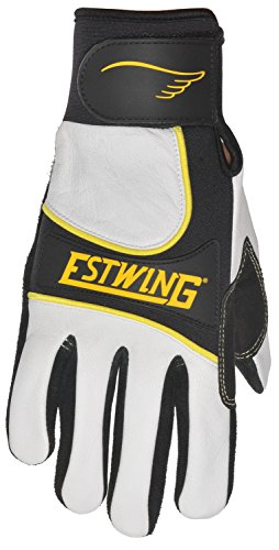 Estwing EST7990L Premium Hi-Impact Work Glove Cut-Resistant Aramid Fiber Stitching Gunn Pattern Black Cowhide Palm White Leather Back of Hand, Large,