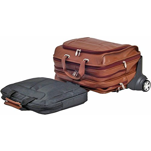 Brand New Mcklein 17'' Brown West Town Leather ''Fly-Through'' Checkpoint-Friendly Detachable-Wheeled Notebook Case by McKleinUSA