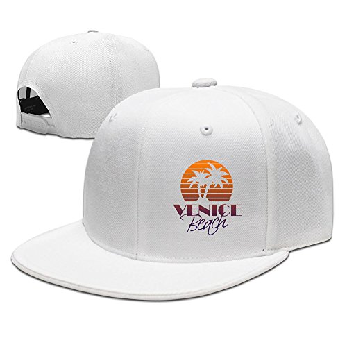 Men's Venice Beach Boardwalk Flat Brim Adjustable Snapback Hip Hop Cap - Boardwalk Beach Venice Shops