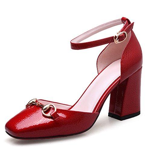 Nine Seven Moda Cuero Puntera Cuadrada Zapatos de Tacón Grueso con Correa de Tobillo para Mujer Rojo