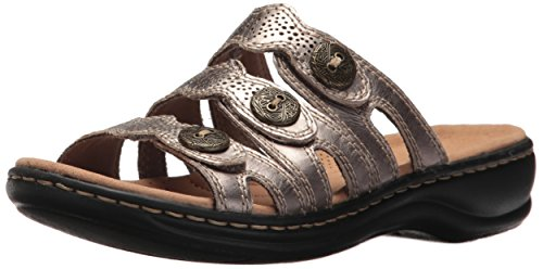 CLARKS Women's Leisa Grace Sandal, Pewter Leather, 7.5 Medium US