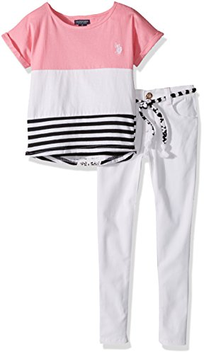 (U.S. Polo Assn. Girls' Toddler Fashion Set, Color Block Jersey top Twill Pant Multi, 2T)