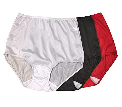 Shadowline Women's Hidden Elastic Nylon Full Brief Panty 3-Pack, Black_RED_White, 8 - Full Nylon Brief