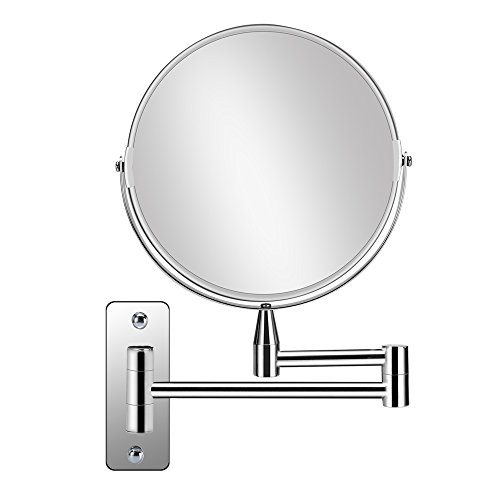 Round Arm - Supersail 1X &5X Magnifying Double Sided Vanity Makeup Mirror, 8 inch, Wall Mount, Round, Chrome