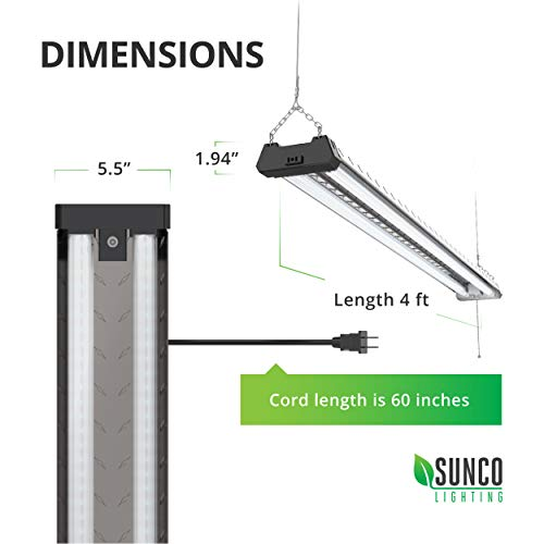 Sunco Lighting 6 Pack Industrial LED Shop Light, 4 FT, Linkable Integrated Fixture, 40W=260W, 5000K Daylight, 4000 LM, Surface + Suspension Mount, Pull Chain, Utility Light, Garage- Energy Star by Sunco Lighting (Image #4)