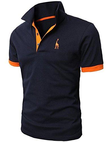 Glestore Herren Poloshirt Einfarbig Dunkelblau XL