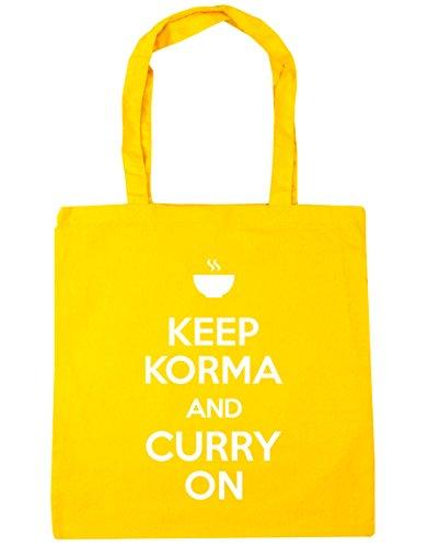 HippoWarehouse Keep Korma y Curry en Tote Compras Bolsa de playa 42cm x38cm, 10litros, rojo clásico (rojo) - 21424-TOTE-Classic Red amarillo