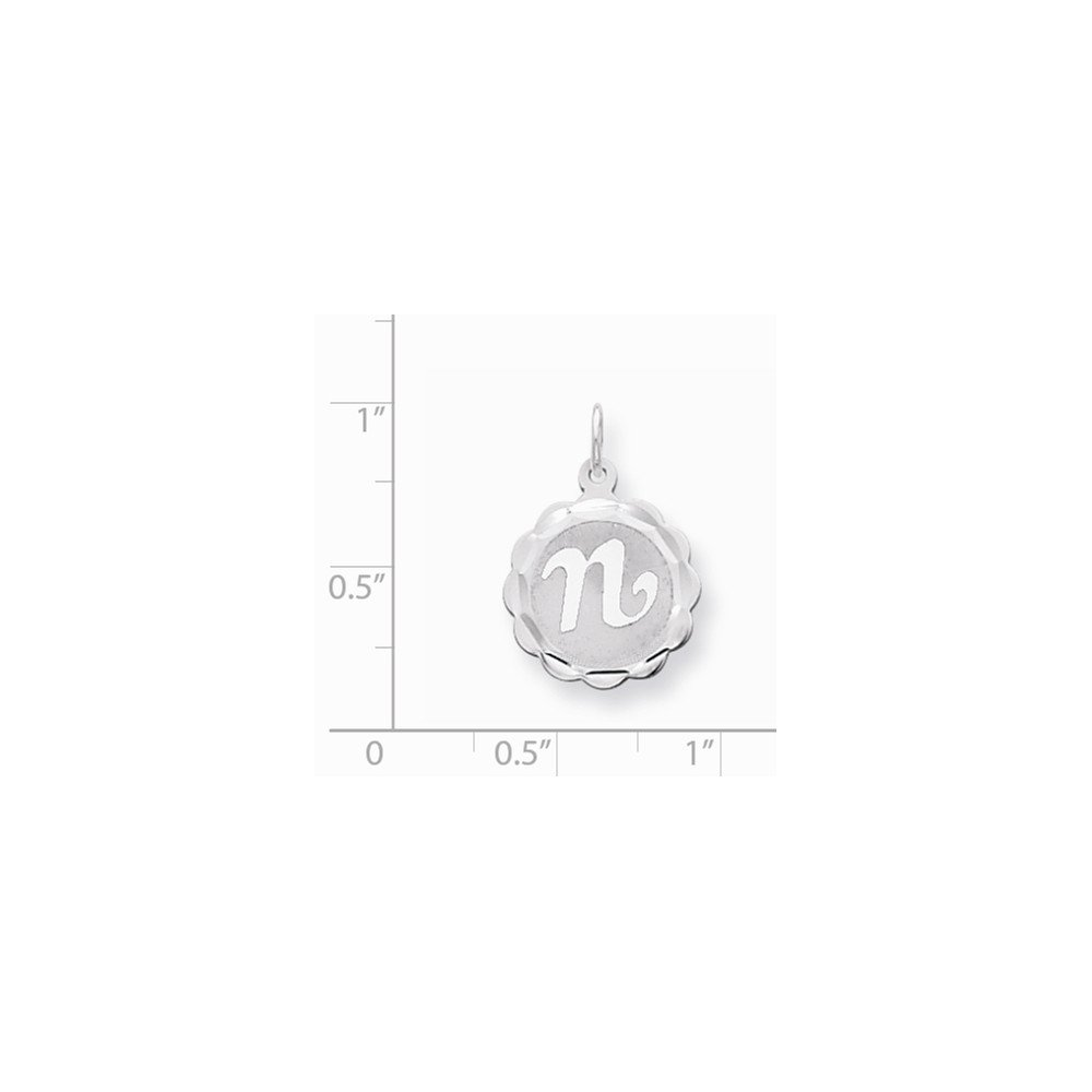 Mireval Sterling Silver Brocaded Initial N Charm on a Sterling Silver Carded Box Chain Necklace 18