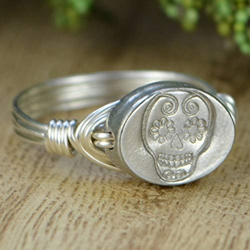 Sugar Skull Sterling Silver and Pewter Wire Wrapped Ring- Custom made to size 4-14 -