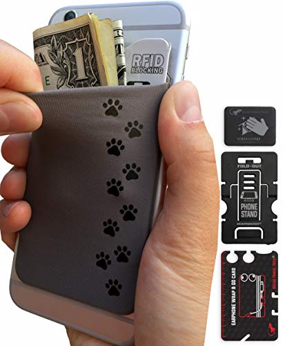 Phone Wallet - Cell Phone Stand - Adhesive Card Holder - Phone Pouch - Stick on Lycra Pocket by Gecko - Carry Credit Cards and Cash - Dog Paws