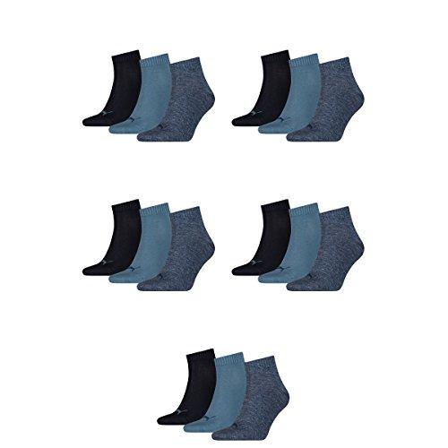 15 pair Puma Sneaker Quarter Socks Unisex Mens & Ladies 460 Denim Blue