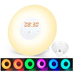 Wake Up Light Sunrise Alarm Clock with 6 Nature Sounds, Digital Clock, FM Radio and Touch Control for Kids Adults Bedrooms (Wood-White)