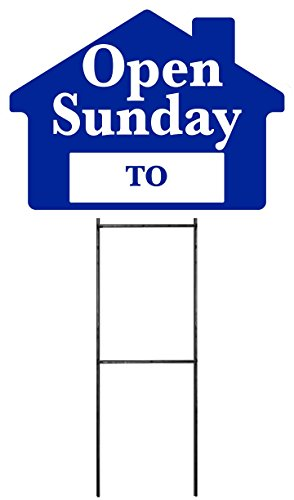 """OPEN SUNDAY Sign Kit with Area for Time - Blue House Shape Corrugated Sign - INCLUDES 24"""" Sign Stake"""