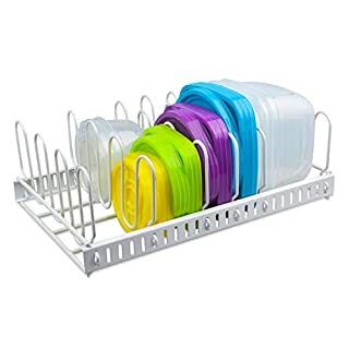 Update White Food Container Lid Organizer&Adjustable Metal Lid Holder Rack 6 Dividers Storage Container Lid organizer for Cabinets, Cupboards, Pantry, Drawers to Keep Kitchen Tidy(Patent Pending)