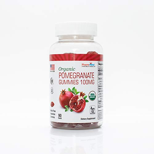 Organic Pomegranate Gummies 100mg – Gluten Free, Fiber Rich Snack Made with Organic Pomegranate – 90 Count