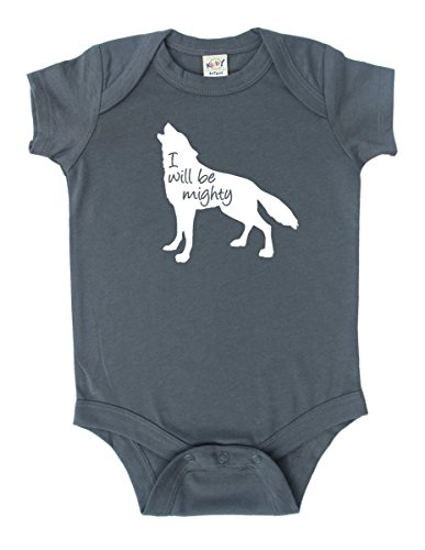''I Will Be Mighty'' Wolf Baby Bodysuit (6-12 months, Grey) by Rocket Bug