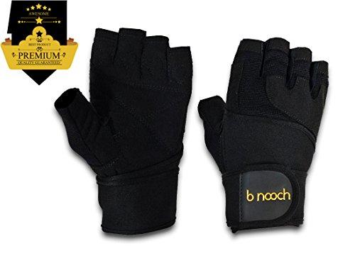 B Nooch Weightlifting Gloves W Wrist Wrap Support Black