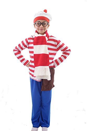 [World Book Day-Fancy Dress- WALLY COMPLETE COSTUME WITH ACCESSORIES - All Children's Sizes (AGE] (Wheres Wally Fancy Dress Kids)
