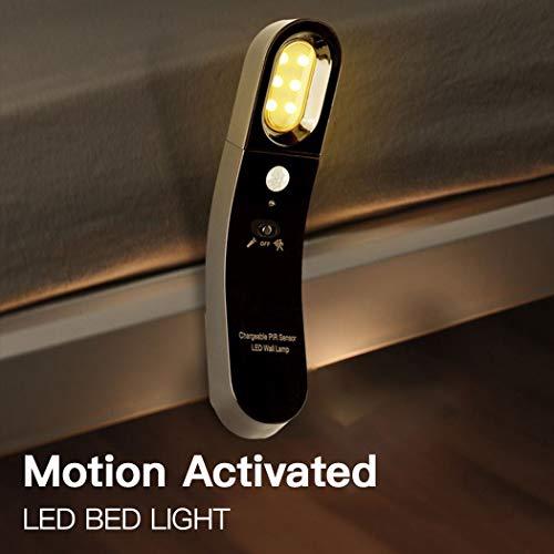 POPSUN 运动传感器夜灯,USB 充电无线电池供电 LED 夜灯,随身携带安全灯,适用于橱柜、浴室、走廊、车库、衣柜,3000k