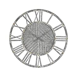 AR Lighting Janice Wall Clock in Galvanized Steel with White Antique