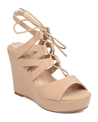 DBDK Women Leatherette Peep Toe Lace Up Caged Platform Wedge Sandal FB34 - Nude (Size: 10)