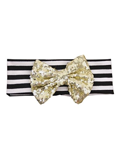 Ajetex Baby Toddler Hair Band Sequined Bow Striped Turban Headband Light Gold+Black (Black Headband Striped Gold)