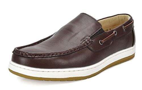Bruno Marc Men's Moccasins Boat Shoes Pitts_10 Brown/Dark Size 11 ()