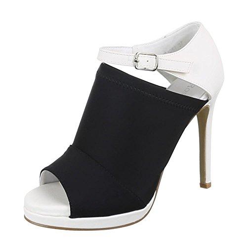 Ital-Design - Zapatos de Tacón Mujer Negro - Schwarz Weiß