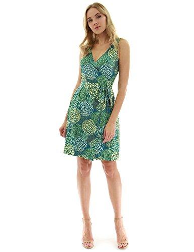 Jersey Print Wrap - PattyBoutik Women V Neck Sleeveless Print Dress (Teal, Green and Yellow 19 Small)