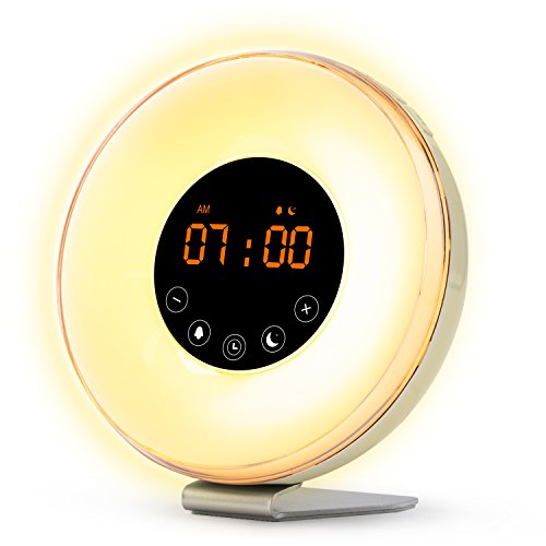Sunrise Wake Up Light Digital Alarm Clock – [2017 Upgraded] 6 Natural Sounds, FM Radio, Sunrise and Sunset Simulation, Touch Control with Snooze Function, 7 Color Night Light for Bedside and kids