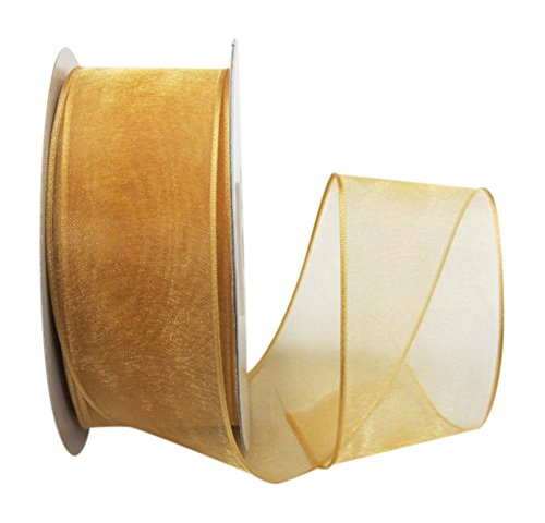 Ribbon Bazaar Wired Sheer Organza 1-1/2 inch Old Gold 25 Yards Ribbon