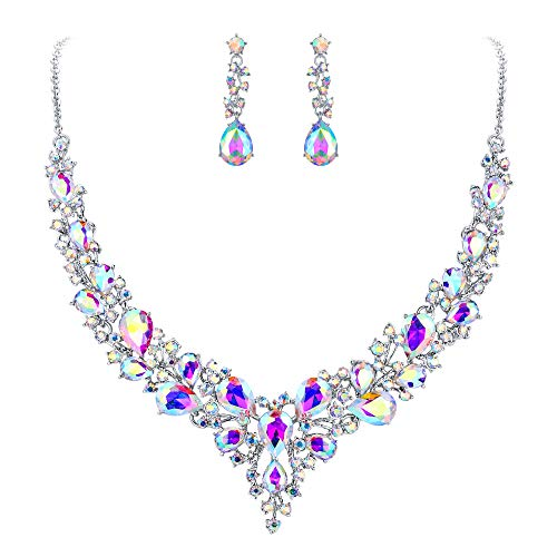 (BriLove Wedding Bridal Necklace Earrings Jewelry Set for Women Austrian Crystal Teardrop Cluster Statement Necklace Dangle Earrings Set Iridescent AB Silver-Tone)