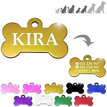 Hueso para Mascotas pequeñas-Medianas Placa Chapa Medalla de identificación Personalizada para Collar Perro Gato Mascota grabada (Dorado): Amazon.es: Productos para mascotas
