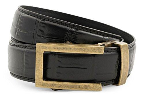 Anson Belt & Buckle - Men's Traditional Antique Gold Buckle with Black Faux Croc Strap (Croc Black Faux)
