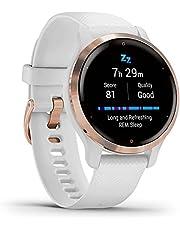 Garmin Venu 2S Smartwatch, Rose Gold, RVS, witte polsband