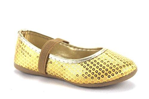 Price comparison product image Ositos Baby Girls FZP-15-II Embellished Ballerina Flats,  Gold,  5