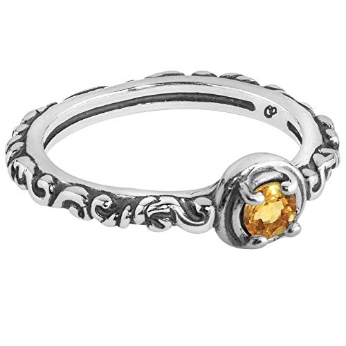 Gemstone Rope Ring - Carolyn Pollack Sterling Silver Yellow Citrine Gemstone Single Round Stone Band Ring Size 10