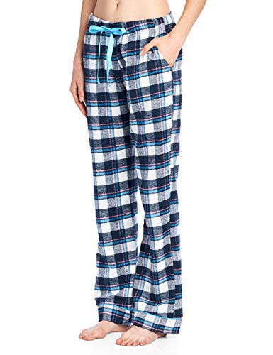 (Ashford & Brooks Women's Super Soft Flannel Plaid Pajama Sleep Pants - Navy Pink - Large)