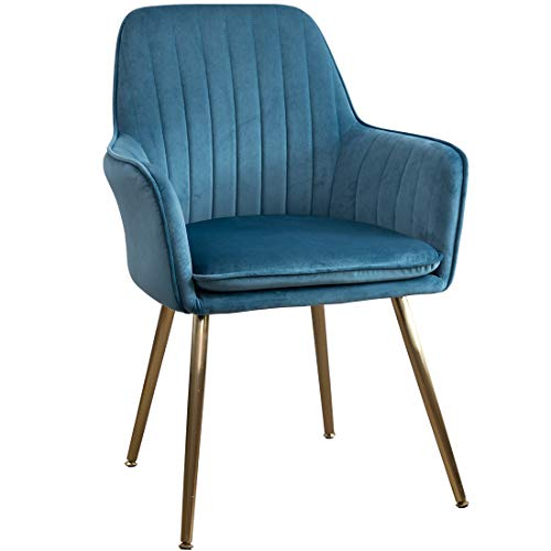 GOLDEN BEACH Elegant Velvet Dinning Chair Mid-Back Support Accent Arm Chair Modern Leisure Upholstered Chair with Gold Plating Legs (Peacock Blue)