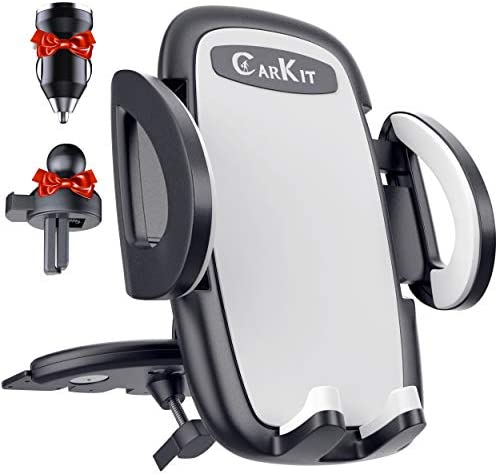 CarKit 2-in-1 Final Arms Free Automobile Cellphone Holder Mount [with Bonus Car Charger]   Straightforward Clamp CD Cellphone Holder for Automobile & Clip Automobile Vent Cellphone Mount Suits for iPhone, Samsung, LG and Different Smartphones