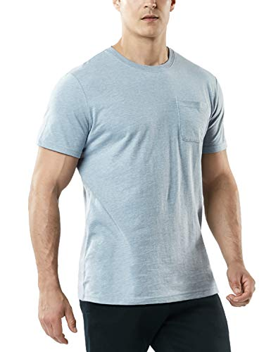 - TSLA Men's (Pack of 1) FlexDri Short Sleeve T-Shirt Athletic Cool Running Top, Dyna Cotton Pocket(mts55) - Oxford Grey, Large