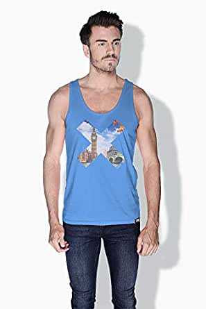 Creo London X City Love Tanks Tops For Men - Xl, Blue