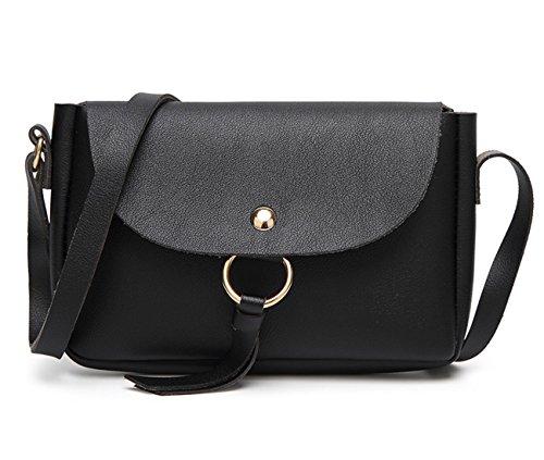 HopeEye mujer Tendencias de la moda Cuero De La Pu Mochila para mujer(gzaspunb10-1-Brown) 4-negro