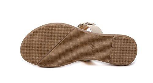 Sandalias femeninas flores de diamantes sandalias planas de los zapatos de gran tamaño negro