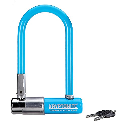Kryptonite Kryptolok Series 2 Mini Heavy Duty Bicycle U Lock Bike Lock with Transit FlexFrame Bracket, 3.25 x 7-Inch (Blue)