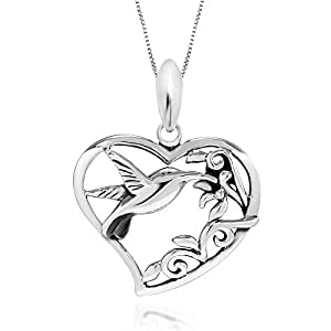 925 Sterling Silver Filigree Flower Hummingbird Heart Pendant Necklace, 18""