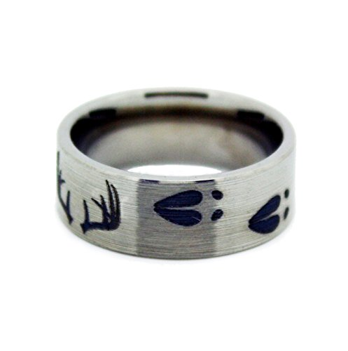 #1 CAMO Deer Antler Ring - Deer Shed Titanium Wedding Band - Ring Size 12