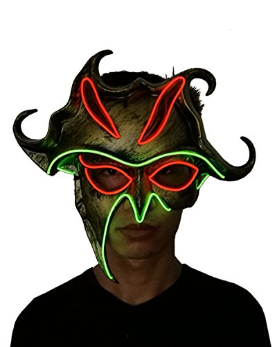 Scary Led Mask Purge Halloween Light Up Professional Rave Costumes Glow Stick Led Face Changeable Party City Mask for Parties Festival Costume by Latburg (light up mask-002) (The Walking Dead Halloween Costumes Party City)